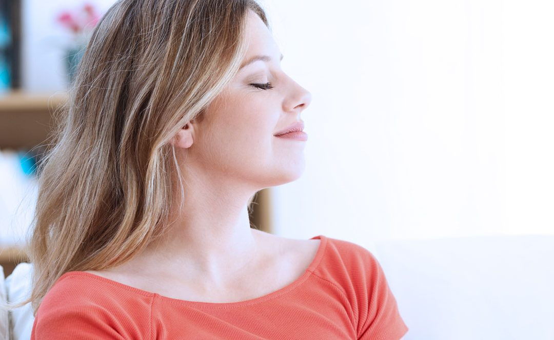 woman diaphragmatic breathing